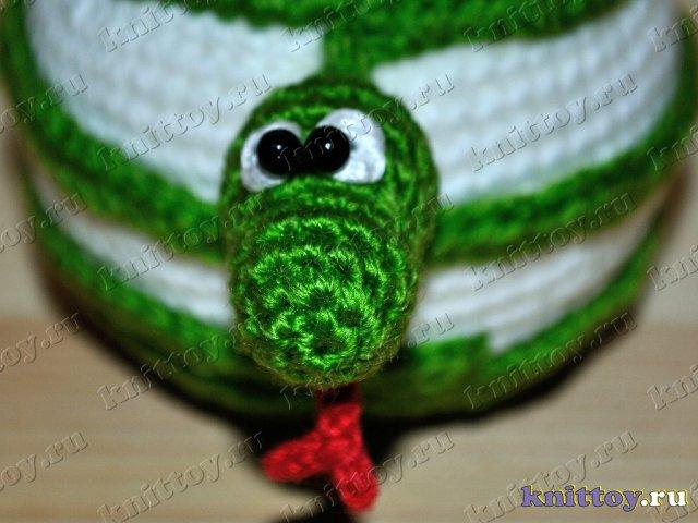 фотогалерея вязаная игрушка Яблочный Змей, вязаный Змей с яблоком...